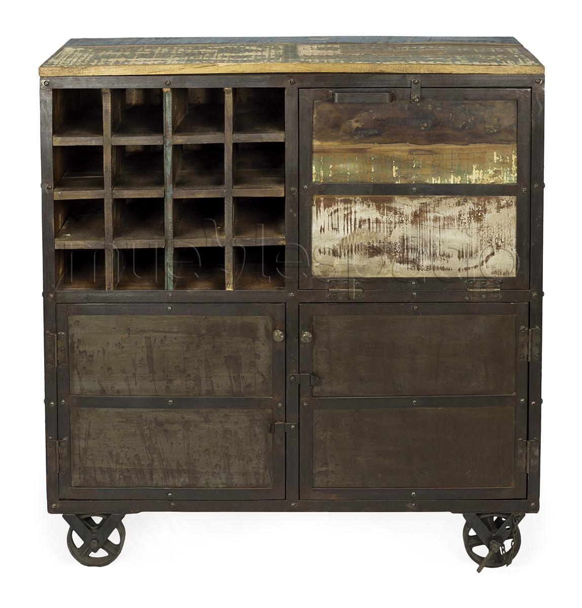 Mueble botellero vintage madera mueblespacio for Barril mueble bar