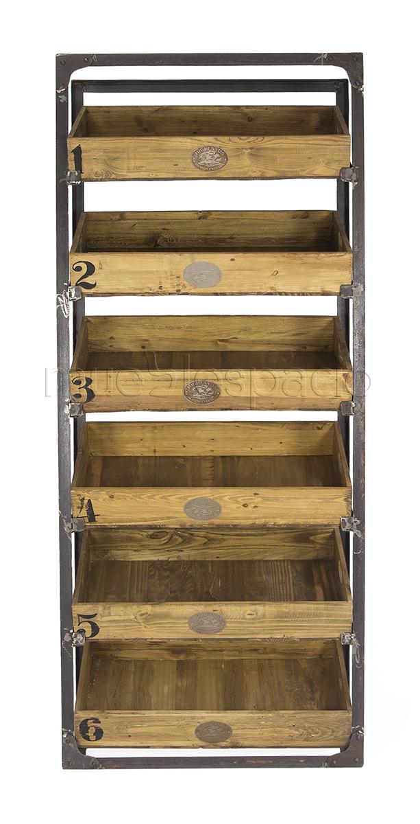 Mueble botellero vintage madera envejecida mueblespacio for Muebles diseno industrial vintage