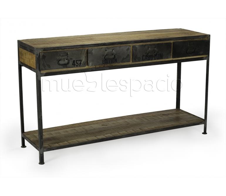 Mueble consola industrial madera envejecida mueblespacio for Muebles industriales baratos