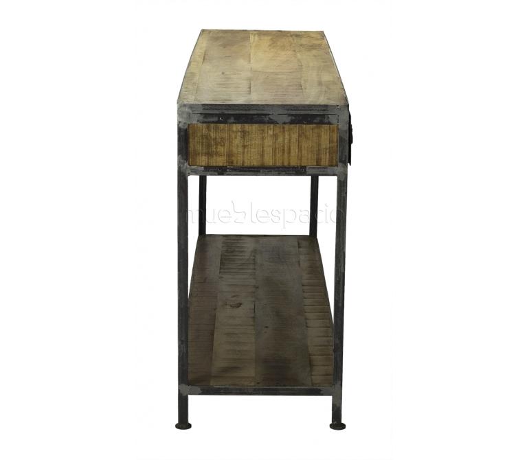 Mueble consola industrial madera envejecida mueblespacio for Comprar mueble industrial