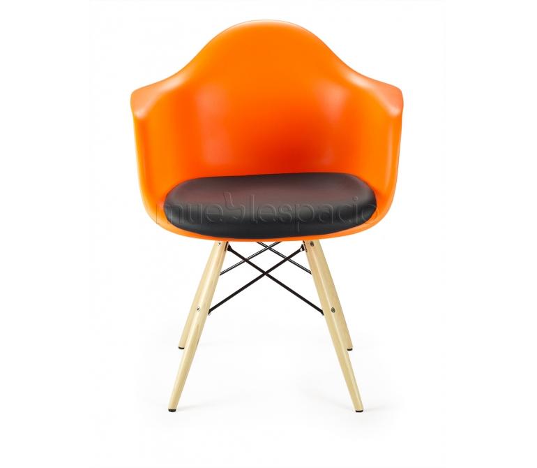Sillon naranja madera cojin de dise o estilo vintage industrial - Cojin sillon ...