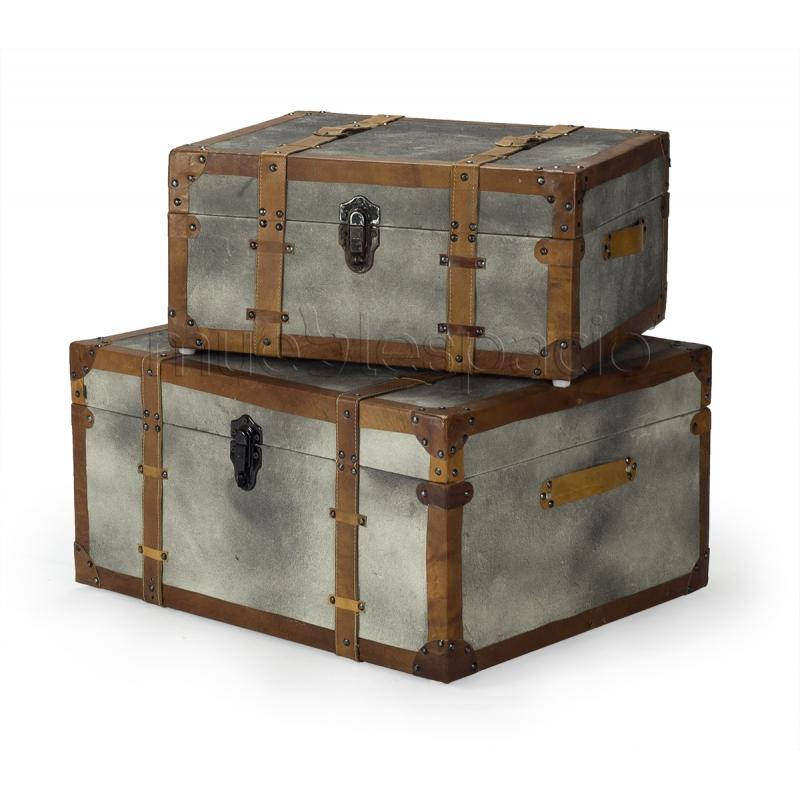 Conjunto 2 baules de dise o estilo vintage industrial - Baules baratos madera ...