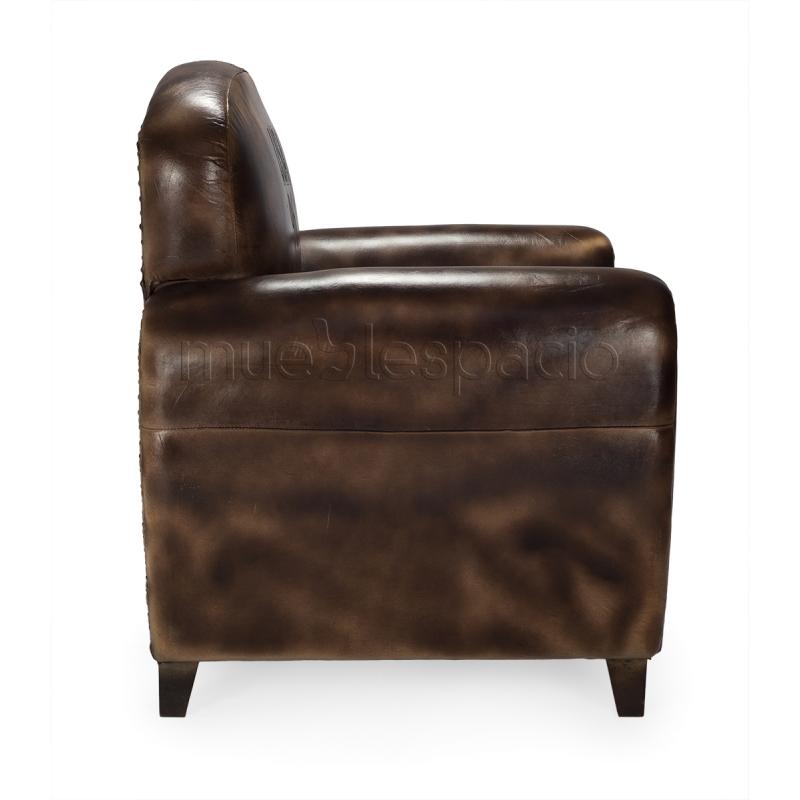Sillon vintage cuero mueblespacio for Mobiliario vintage barato
