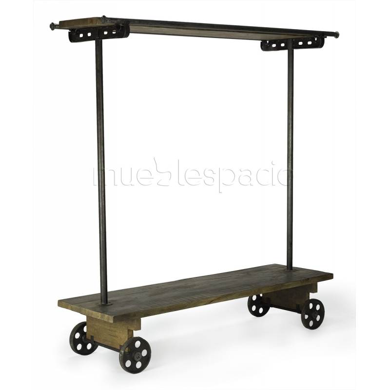 Perchero industrial de acero y madera con ruedas for Perchero con ruedas ikea
