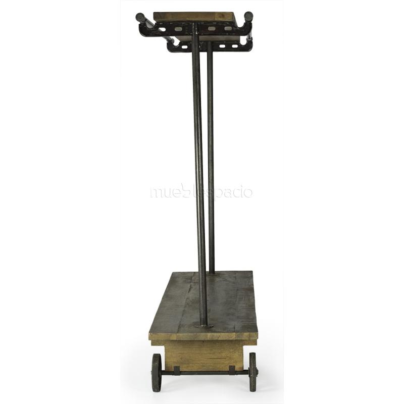 Perchero industrial de acero y madera con ruedas - Percheros de acero ...