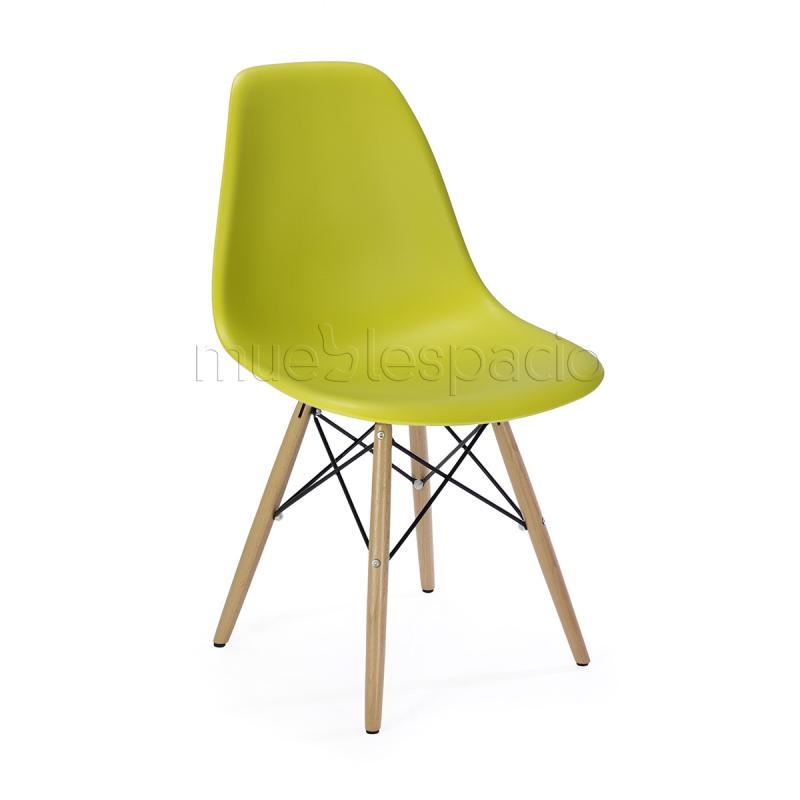 Mueblespacio comprar silla plastic madera amarillo for Sillas online diseno