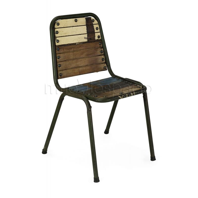 Silla vintage madera reciclada mueblespacio - Sillones de diseno ...