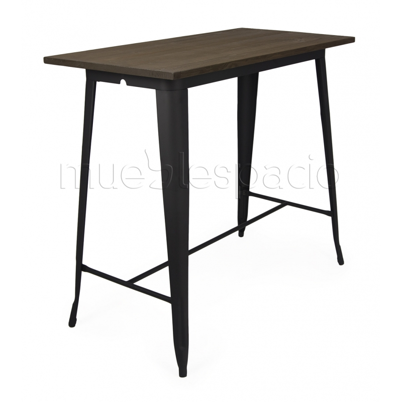 Mesa tolix de xavier pauchard estilo vintage mueblespacio for Mesa alta madera bar