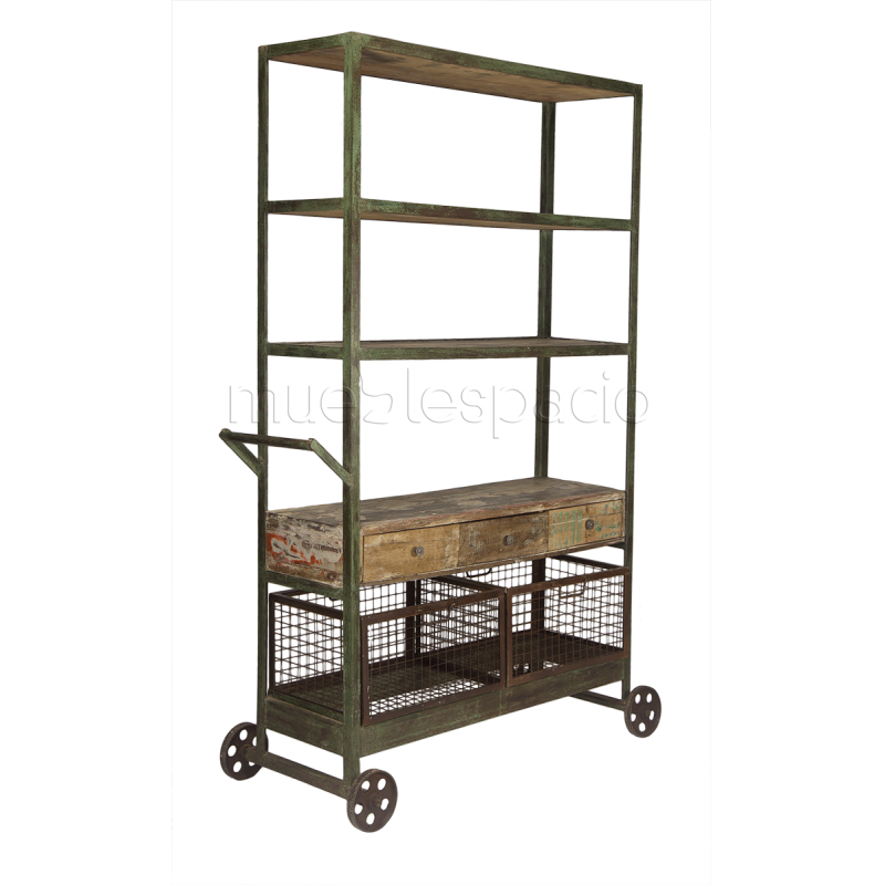 Estanter a de dise o industrial mueblespacio for Mobiliario vintage barato