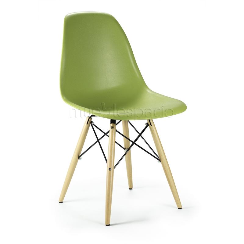 Mueblespacio Comprar Silla Plastic Madera Verde Abs De