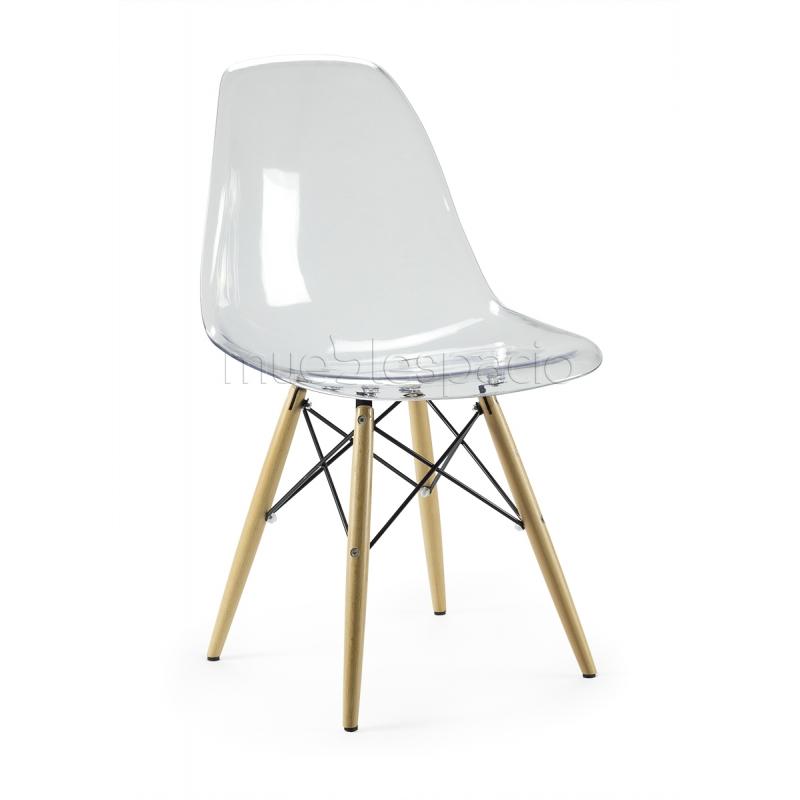 silla plastic transparente madera de dise o estilo vintage