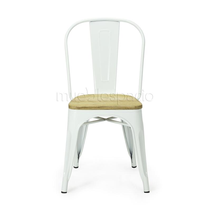 Sillas tolix de xavier pauchard estilo vintage mueblespacio for Sillas madera colores
