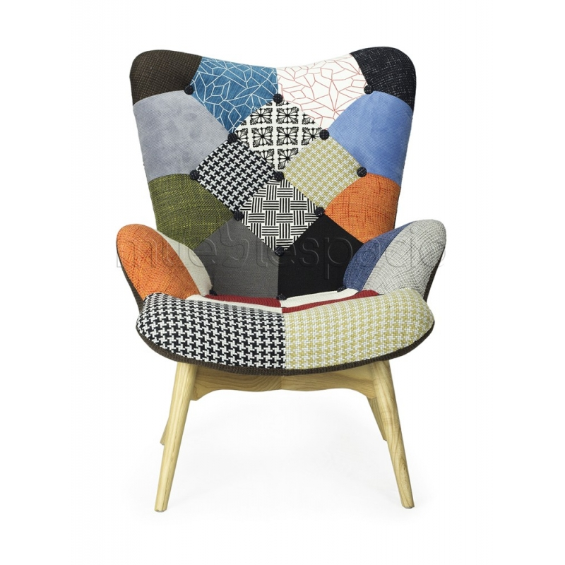 Sillon featherson patchwork de dise o estilo vintage for Sillones retro baratos