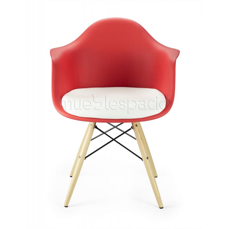 Sillon rojo madera cojin de dise o estilo vintage industrial - Cojin sillon ...