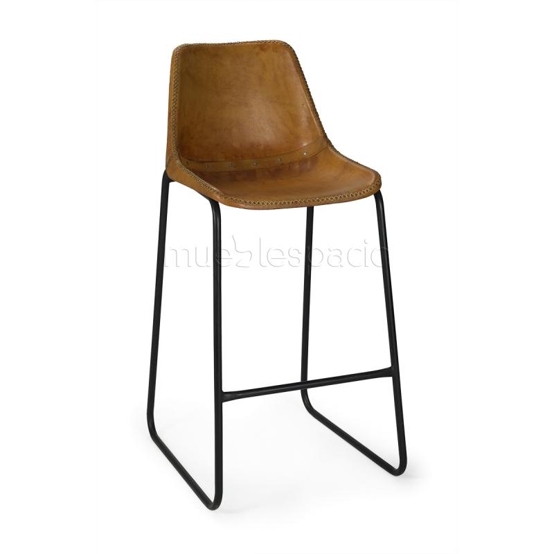 Taburete vintage industrial piel mueblespacio - Taburetes online ...