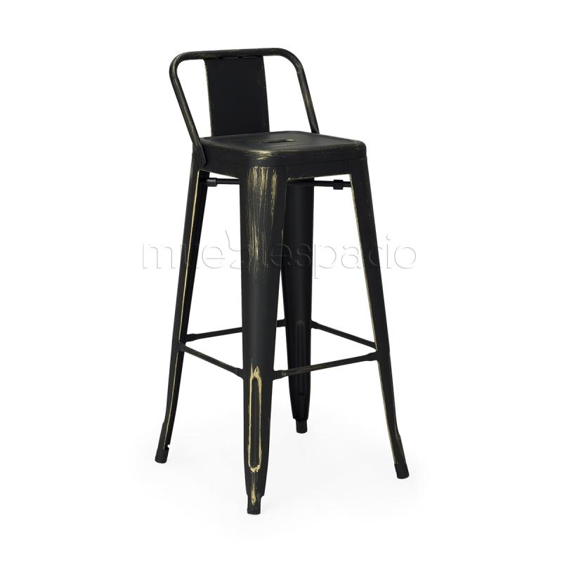 Comprar taburete paul respaldo antique colores negro ref 7548 - Taburetes online ...